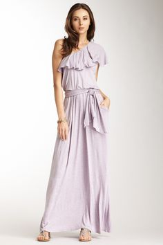 One Shoulder Ruffle Maxi Dress by Frenzii