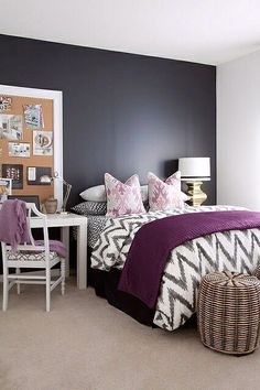 Gray and Purple Bedroom Idea. Gray and Purple Bedroom Idea. Grey Bedroom Decor, Accent Wall Bedroom, Master Bedroom Design, Home Bedroom, Bedroom Designs, Bedroom Furniture, Bedroom Black, Charcoal Bedroom, Lilac Bedroom
