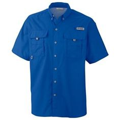 Columbia Bahama II Short Sleeve Shirt with Omni-Shade for Men - Vivid Blue - 2XL