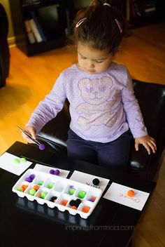 Fun Math Games With Colored Cotton balls