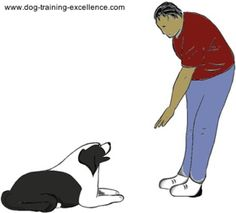 Down.         Dog Training Hand Signals - A picture instructional guide