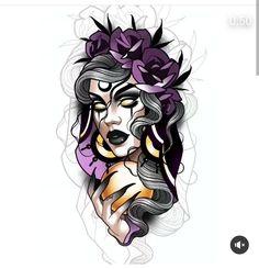 Girl Face Tattoo, Girl Face Drawing, Girl Tattoos, Tattoos For Women, Panda Tattoos, Neo Tattoo, Dark Tattoo, Tattoo Sketches, Tattoo Drawings