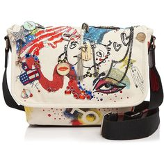 Marc Jacobs Collage Printed Canvas Messenger Crossbody ($850) ❤ liked on Polyvore featuring bags, messenger bags, cross body, pink messenger bag, canvas cross body bag, crossbody bags and canvas bag
