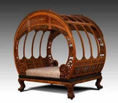 Art Nouveau - Miss-Mary-quite-contrary:    Moon Bed.  ca. 1870-1880  Artist not identified  Ningpo, China  Asian hardwoods, ivory