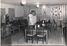 ID#0033 Date: 1950s. This image shows the interior of Martin Inn at #29 and 31 East College Street. From 1873 to 1877 Union Telegraph School was in this building. It was then a residence until 1903. The building was remodeled from 1903 to 1904 for use as a hotel. It opened in 1904 as The Martinique Hotel with N.A. Martin as the proprietor.  Participant: Ryan Martin. Additiional Sources: Oberlin Heritage Center: Fred Maddock files; City Directories.