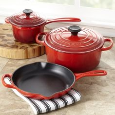 $655.00 | Le Creuset 5 Piece Cherry Enamel Cast Iron Cookware Set. (CLICK IMAGE TWICE FOR UPDATED PRICING AND INFO) See More Enamel Cast Iron Cookware Sets at www.momsbestkitchen.com/product-category/cast-iron-cookware-sets/