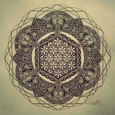 LOVE the detail and the mandala effect  Flower of life mandala