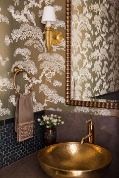 Cherry Street Project: Wallpaper by Studio Printworks, sink by Odegard, faucet by Kohler, sconces by Ironies