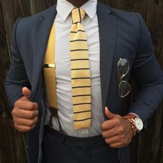 Striped Knit Tie in Yellow + Navy