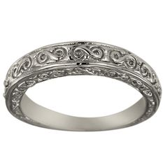 Vintage Wedding Band In 14k White Gold Featuring An Art Deco Design