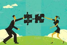 Finding a solution Graphics A man and woman connecting puzzle pieces to find the solution. The man and woman are on a separate l by retrorocket