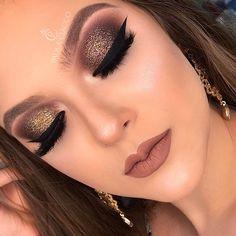 Makeup Tutorial Eyeshadow Gold Glitter Make Up 48 Ideas Makeup Eye Looks, Glam Makeup Look, Smokey Eye Makeup, Gorgeous Makeup, Beauty Makeup, Huda Beauty, Makeup Goals, Makeup Inspo, Makeup Inspiration