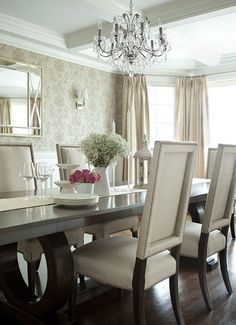 The Elegant Abode LI Dining Room Glam Dining Room, Crystal Chandelier,  Walnutu2026