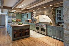 Modern-Farmhouse-Kitchen-Design. Love the color of the cabinets,floor, stove design, stones,...