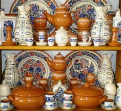 A beautiful set of Hungarian handmade folk ceramics. They are designed to be a whole tea set. China Sets, Old World Charm, Budapest Hungary, Handmade Pottery, Tea Set, Objects, Hand Painted, Crafts, Design