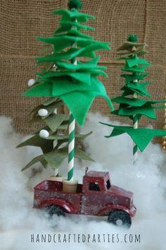 DIY Felt Christmas Tree : DIY Felt + Paper Straw Christmas Trees