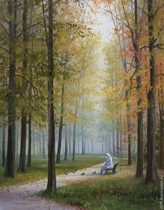 """Купить картина маслом """"В парке"""" - картина в подарок, дорожка, Голуби, картина маслом, реализм"""