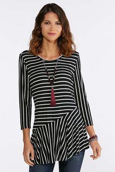 3c0b9e5b8e9 Asymmetrical Striped Peplum Top Tops Cato Fashions  catoconfident Cato  Fashion Plus Size