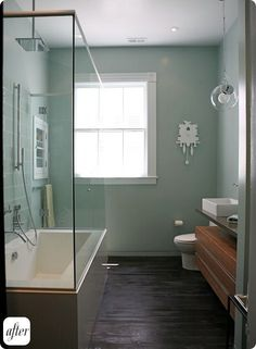 faucet moved to ceiling and middle to accomodate glass shower, Design*Sponge