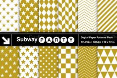 Gold & White Geometric Papers. Christmas Patterns. $3.00
