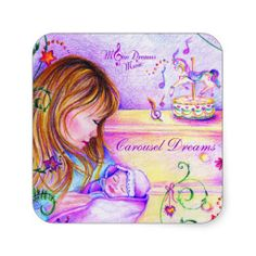 Carousel Dreams Square Stickers #stickers #square #sticker #baby #mommy #newborn #infant #carousel #carouseldreams #moondreamsmusic #colorful #favors