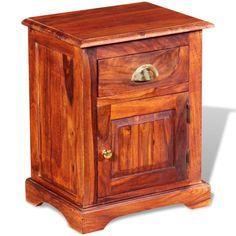 Home Bedside Cabinet Table Bedroom Nightstand Furniture Brown Wood Drawer Solid for sale online Vintage Stil, Style Vintage, Malm, Bedside Cabinet, Nightstand, Bedside Tables, Rustic Wood Box, Bedroom Night Stands, Wood Drawers