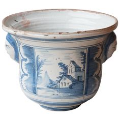 Large 18th Century Blue And White Cache Pot   From a unique collection of antique and modern delft and faience at https://www.1stdibs.com/furniture/dining-entertaining/delft-faience/