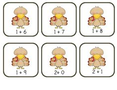 Here's a Thanksgiving themed game for practicing addition facts to 10.