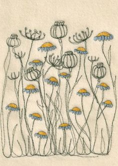 sewing art (machine the black lines, appliques and embroider the flower details)