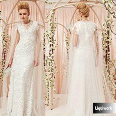Designer White Lace Sequin Goddess Wedding Bridal Party Evening Dresses SKU-122821