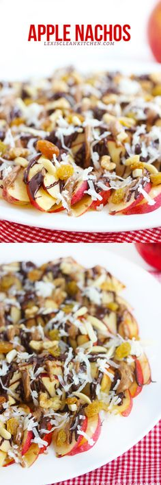 Apple Nachos O this looks good!!!! Slice 2-3 Apples, 1/2 C Dark Chocolate melted, 1/4 C Peanut Butter melted, 1/4 C Caramel melted, Coconut, Raisins, Nuts