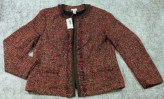 Chicos Rainbow Shine Vikey Ninfea Tweed Jacket Blazer Womens Size 2 NEW $129