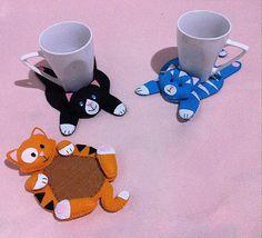 Cat coaster pattern, felt pattern. PDF