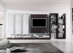 Browse our gallery of modern TV wall units and tips for how to integrate the modern TV wall unit designs for living room and modern TV stands in the living room interior, modern TV units Living Room Tv, Small Living Rooms, Living Room Designs, Modern Living, Apartment Living, Living Spaces, Panneau Mural Tv, Tv Wall Panel, Modern Tv Wall Units