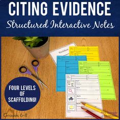 Teach your Middle School students how to cite textual evidence with a PowerPoint and matching interactive guided notes that I call Pixanotes®. A perfect way to help teach Writing Lesson Plans, Writing Lessons, Essay Writing, Middle School Ela, Middle School English, Powerpoint Pictures, Citing Textual Evidence, 8th Grade Ela, Ela Classroom