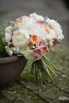 White, pink and peach wedding flowers. June wedding bouquet of peonies, roses and ranunculus by floralartvt.com Photo: Barrie Fisher Photography  Bouquet - Floral Artistry Wedding Bouquets, Wedding Flowers, Wedding Day, Ranunculus, Peonies, Fresh Flowers, Beautiful Flowers, Wedding Planning Tips, Vermont