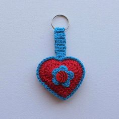 Hartjie Sleutelhouer - Rooi en Blou / Heart Key Chain - Red and Blue - Die Boervrou Key Chain, Red And Blue, Crochet Earrings, Heart, Jewelry, Products, Jewellery Making, Red And Teal, Jewels