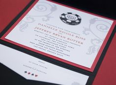 pokerowe zaproszenie/ Vegas Poker Chip Wedding Invitation (Pocket Fold)