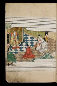 Japenese manuscript representing the Life of Buddha (Shaka no Honji). It's a Nara picture book. Here is a palace with five characters in sumptuous richly decorated kimonos.  #Japan #Manuscript #picturebook #buddha