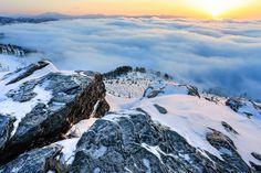 Picture of a mountain range near Hokkaido, Japan