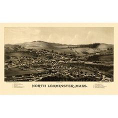 Vintage Map of North Leominster Massachusetts 1887 Worcester County Canvas Art - (24 x 36)