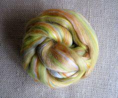 Lemon Orange Shake Up  Merino Top Tussah Silk by GnomeAcres, $15.75
