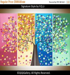 """Art Painting acrylic Landscape painting four season tree wall decor home decor Wallart """"365 Days of Hppiness"""" by qiqigallery - Ready To Hang"""
