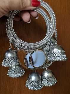 Items similar to Indian Jewelery,bangles,jhumka bangles,German Silver, traditional Jewelery on Etsy Indian Jewelry Earrings, Indian Jewelry Sets, Jewelry Design Earrings, Silver Jewellery Indian, Hand Jewelry, Jewelery, Silver Jewelry, Silver Earrings, Jewelry Bracelets