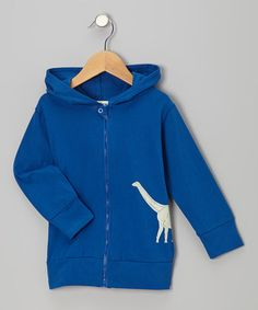 Dark Blue Dinosaur Organic Zip-Up Hoodie by violet + moss