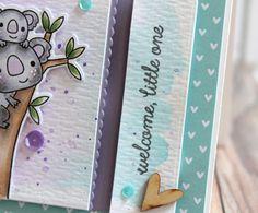 Card by Lisa Henke. Reverse Confetti stamp set: Bear Hugs. Confetti Cuts: Bear Hugs, Edge Essentials, and Shakers 'n Frames. Congratulations card. Baby Card. Koala bear.