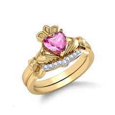 Pink Sapphire With Diamond Bridal Set Set in 14 Kt Yellow Gold (4.30 gms) with Diamonds (0.05ct)