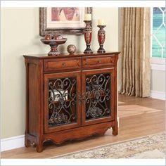 Light Cherry 2-Door, 2-Drawer Scroll Console - Powell Furniture - 411-254