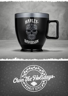 Set apart this mug from every other mug in the cupboard. | Harley-Davidson Ceramic Skull Latte Mug