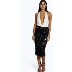 Boohoo Night Claudia All Over Sequin Midi Skirt ($18) ❤ liked on Polyvore featuring skirts, black, midi skirt, mini skirt, black skirt, calf length pencil skirt and mini pencil skirt